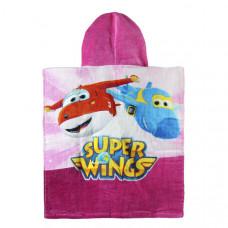 Розова Кърпа Пончо с Качулка Super Wings