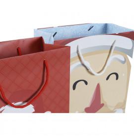 Коледна Чанта DKD Home Decor Син Червен хартия (26 x 13 x 32 cm) (2 pcs)